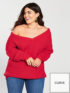 v-by-very-curve-off-the-shoulder-slouchy-jumper-rednbsp