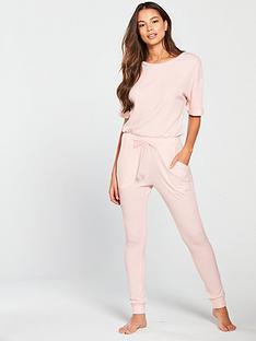 4bbd4bda63 V by Very Three-quarter Sleeve Ribbed Sleepwear Jumpsuit - Blush