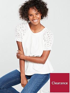 v-by-very-broiderie-sleeve-peplum-hem-top-white