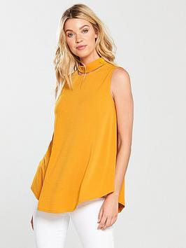 v-by-very-sleeveless-choker-button-detail-swing-top-mustard
