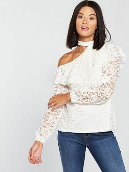 v-by-very-lace-choker-frill-one-shoulder-top-ivory