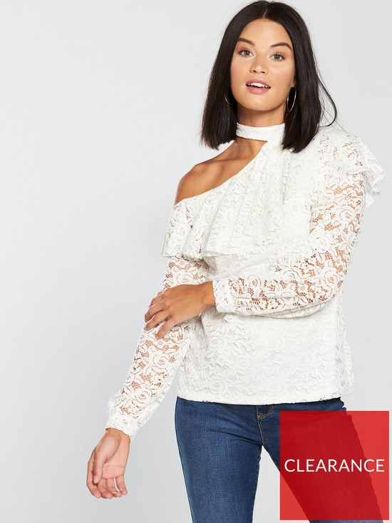 bce02c5c0b9bd V by Very Lace Choker Frill One Shoulder Top - Ivory