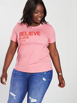 V By Very Curve Believe Slogan T-Shirt - Pink