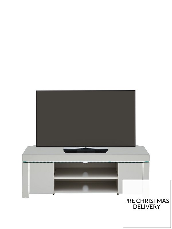 sale retailer e9561 1cfa7 Atlantic High Gloss Corner TV Unit with LED Light - Grey - fits up to 50  inch TV