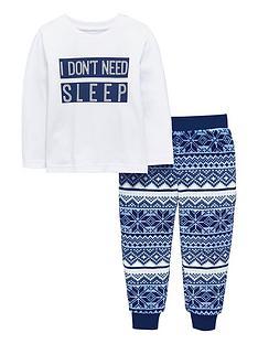 mini-v-by-very-i-dont-need-sleep-fairisle-fleece-pyjama