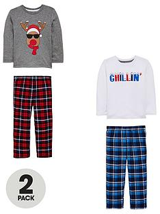 mini-v-by-very-2-pack-reindeer-chillin-brushed-check-pyjama-set