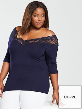 v-by-very-curve-lace-trim-neck-top-navy