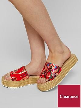 miss-selfridge-espadrille-slide-flatform-red-print