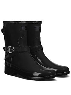 hunter-original-refined-back-strap-short-gloss-wellington-boots-black
