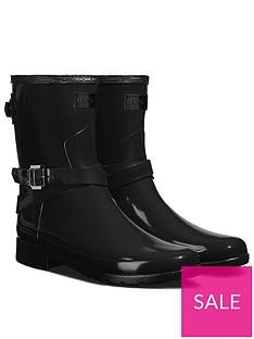 hunter-original-refined-back-strap-short-gloss-wellington-boots-black