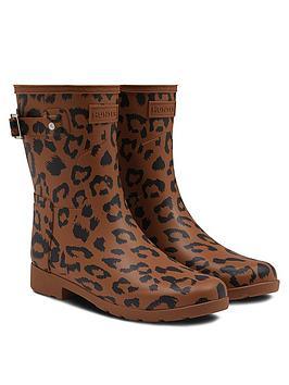 Hunter Hunter Refined Short Hybrid Print Leopard Wellington Boot