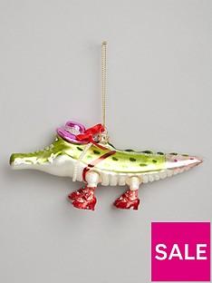 gisela-graham-painted-glass-alligator-christmas-tree-decoration
