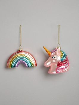 gisela-graham-painted-glass-unicorn-and-rainbow-hanging-christmas-tree-decorations-set-of-2
