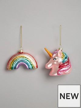 gisela-graham-painted-glass-unicorn-and-rainbow-hanging-christmas-tree-decorations-set-of-2
