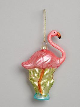gisela-graham-painted-glass-flamingo-hanging-christmas-tree-decoration