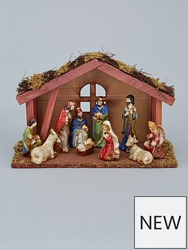 gisela-graham-ceramic-nativity-set-with-wood-stable