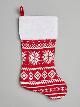 gisela-graham-red-and-white-knitted-christmas-stocking