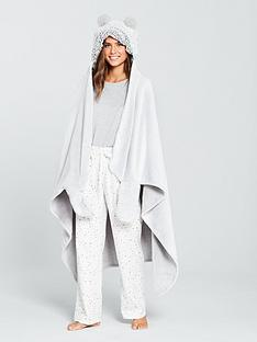 v-by-very-supersoft-hooded-blanket-wrap-grey