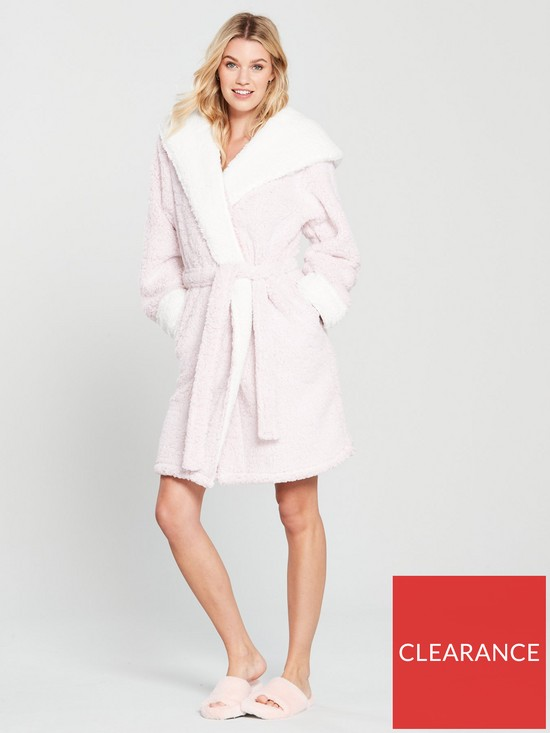 V by Very Snowy Hooded Pom Pom Dressing Gown - Pink  f9dacf8dd