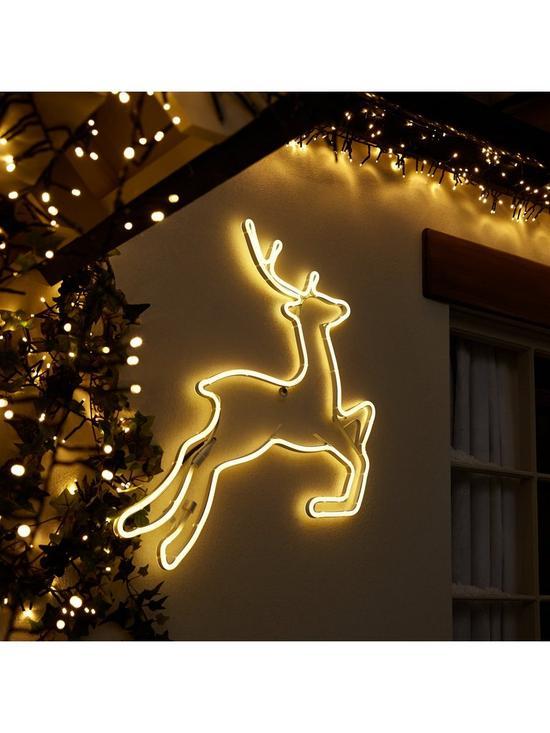 neon reindeer wall light outdoor christmas decoration verycouk - Neon Outdoor Christmas Decorations