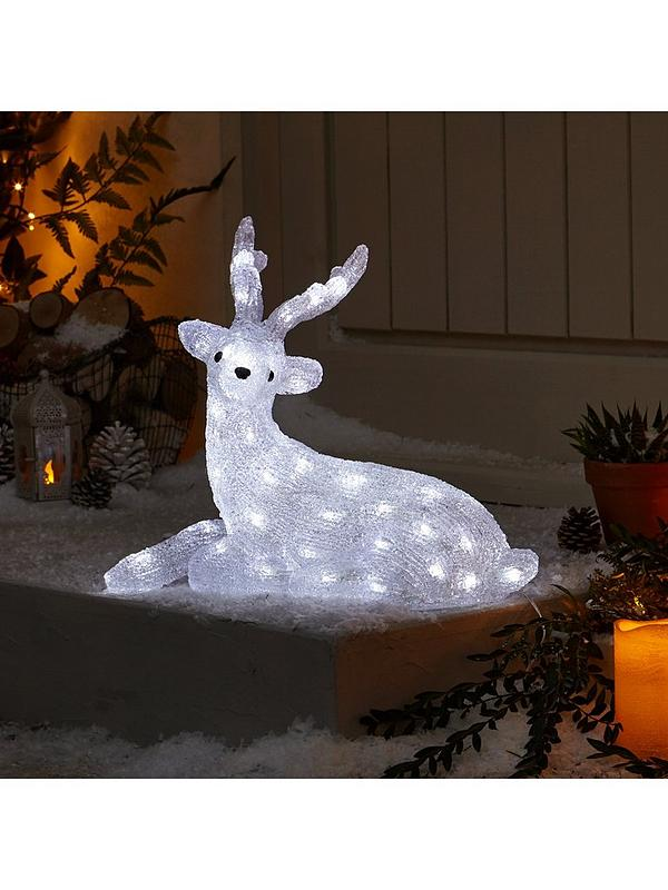 Spun Acrylic Light Up Reindeer With Antlers Outdoor Christmas Decoration