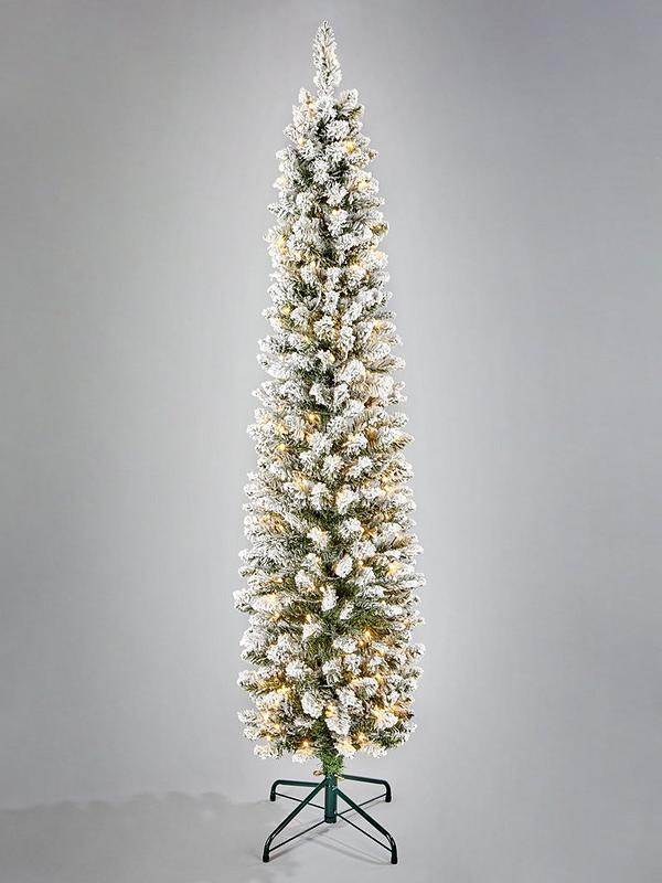 reputable site dac31 f9a7b 6ft Flocked Emperor Pre Lit Pencil Christmas Tree
