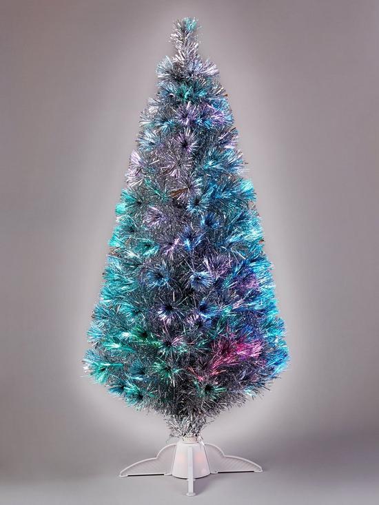 4ft silver fibre optic christmas tree verycouk