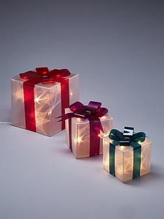set-of-3-laser-effect-gift-boxes-christmas-decorations-with-coloured-bows