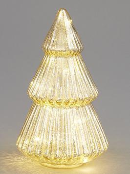Mercury Glass Lit Tree Christmas Decoration