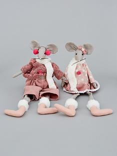 pinkgrey-dangly-leg-mice-christmasnbspdecorations-set-of-2
