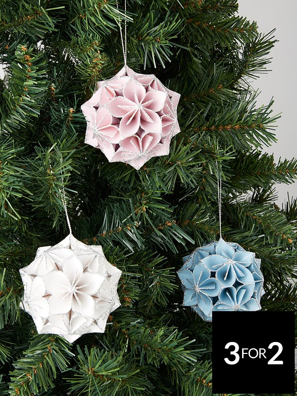 Hanging Christmas Decorations.Set Of 3 Origami Paper Hanging Christmas Tree Decorations