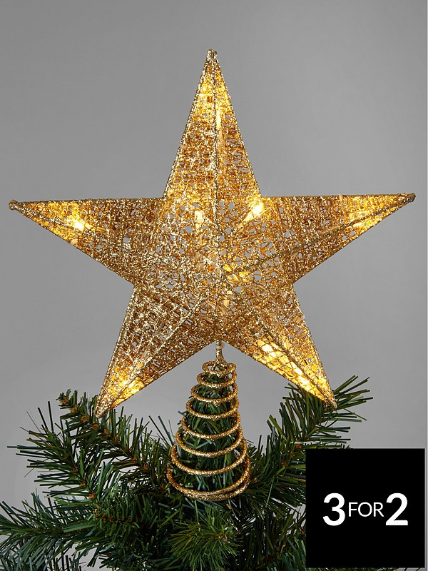 Christmas Tree Topper.Gold Light Up Star Christmas Tree Topper