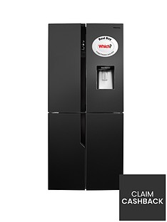 Hisense RQ560N4WB1 79cm Wide American Style Multi-Door Fridge Freezer with Water Dispenser - Black