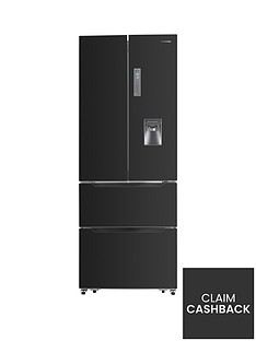 Hisense RF528N4WB1 70cm Wide French Door Style Fridge Freezer with Water Dispenser - Black Best Price, Cheapest Prices
