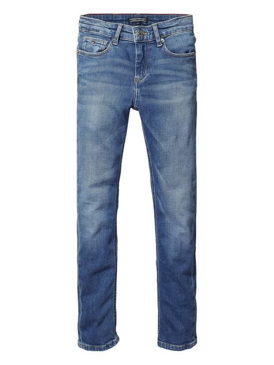 178d30b1 Tommy Hilfiger Boys Scanton Slim Jeans - Mid Ble | very.co.uk