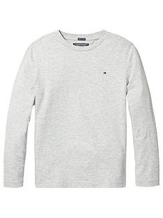 e6204fd14 Tommy Hilfiger Boys Essential Long Sleeve Flag T-Shirt - Grey Heather