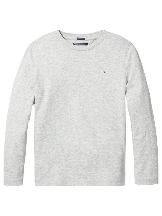301d875ed Tommy Hilfiger Boys Essential Long Sleeve Flag T-Shirt - Grey Heather