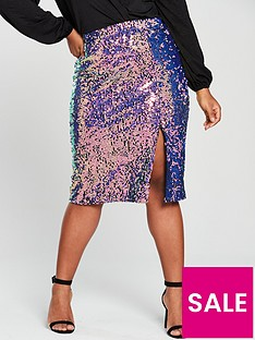 lost-ink-plus-sequin-pencil-skirt-multi