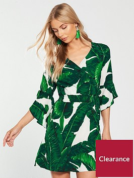 ax-paris-leaf-print-flute-sleeve-playsuit-green