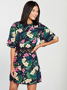 ax-paris-waist-detail-mini-dress-tropical-print