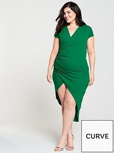 ax-paris-curve-cap-sleeve-wrap-midi-dress-jade-green