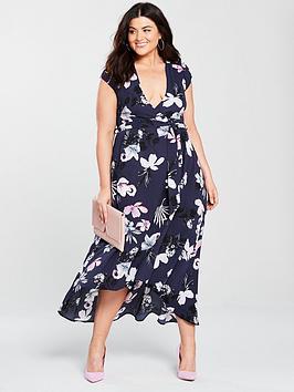 Ax Paris Curve High-Low Hem Floral Maxi Dress - Navy