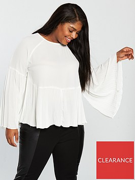 lost-ink-plus-smock-top-with-pleated-hem-white