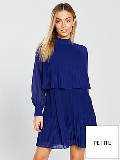 lost-ink-petite-pleated-layer-mini-dress-cobalt-blue