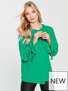 lost-ink-drawstring-detail-shirt-green