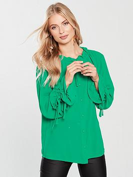 lost-ink-drawstring-detail-shirt-green