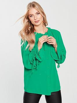 Lost Ink Drawstring Detail Shirt - Green