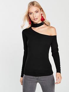 lost-ink-buckle-neck-top-black