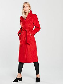 Lost Ink Belted Longline Classic Coat - Red