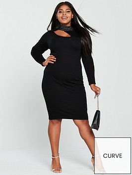 lost-ink-plus-knitted-bodycon-dress-with-studs-black